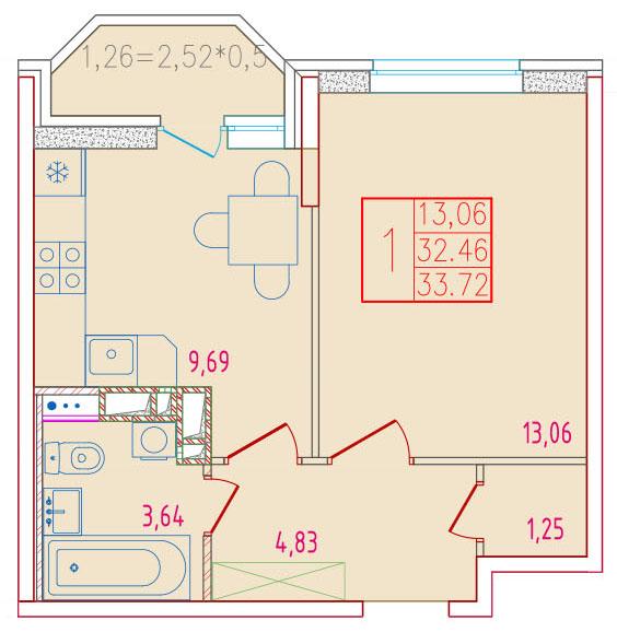 1-комнатная 33.72<span>м<sup>2</sup></span>