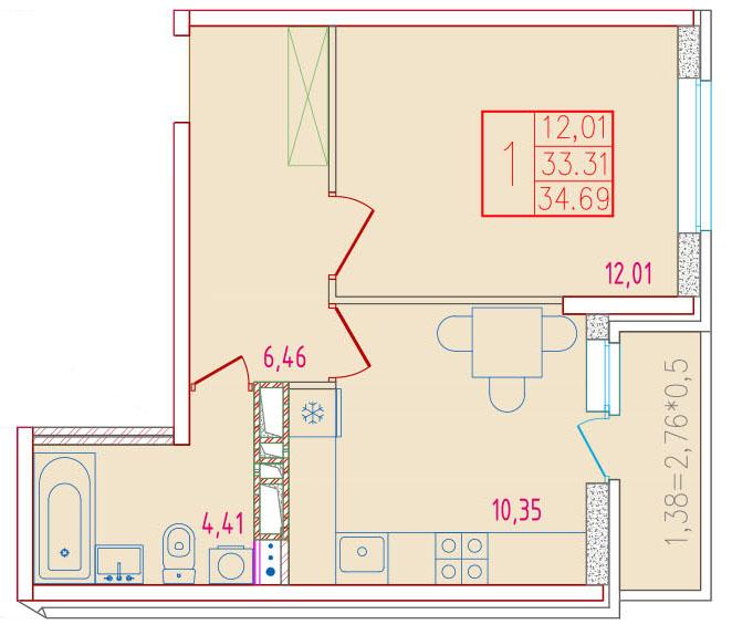 1-комнатная 34.69<span>м<sup>2</sup></span>