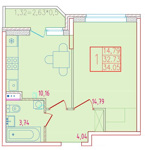 1-комнатная 34.05<span>м<sup>2</sup></span>
