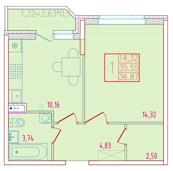 1-комнатная 36.87<span>м<sup>2</sup></span>
