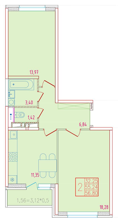 2-комнатная 56.8<span>м<sup>2</sup></span>