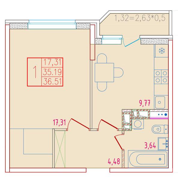 1-комнатная 36.51<span>м<sup>2</sup></span>