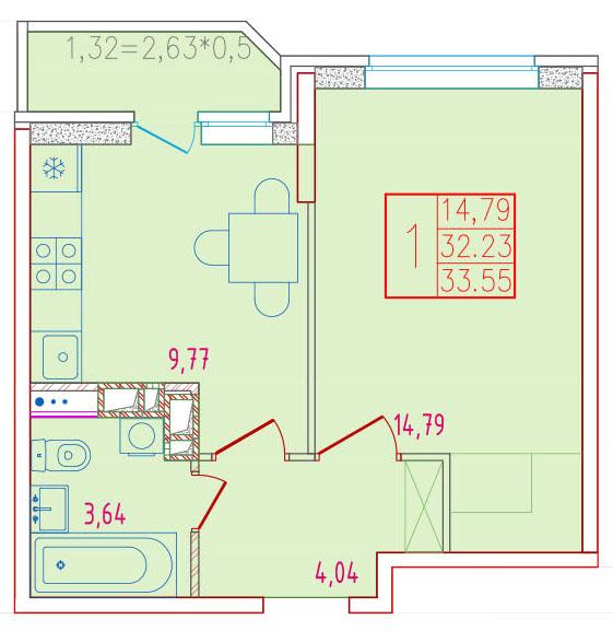 1-комнатная 33.55<span>м<sup>2</sup></span>