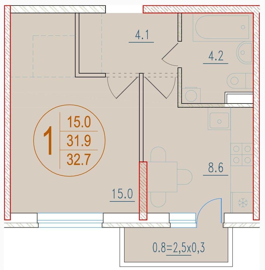 1-комнатная 32.7<span>м<sup>2</sup></span>