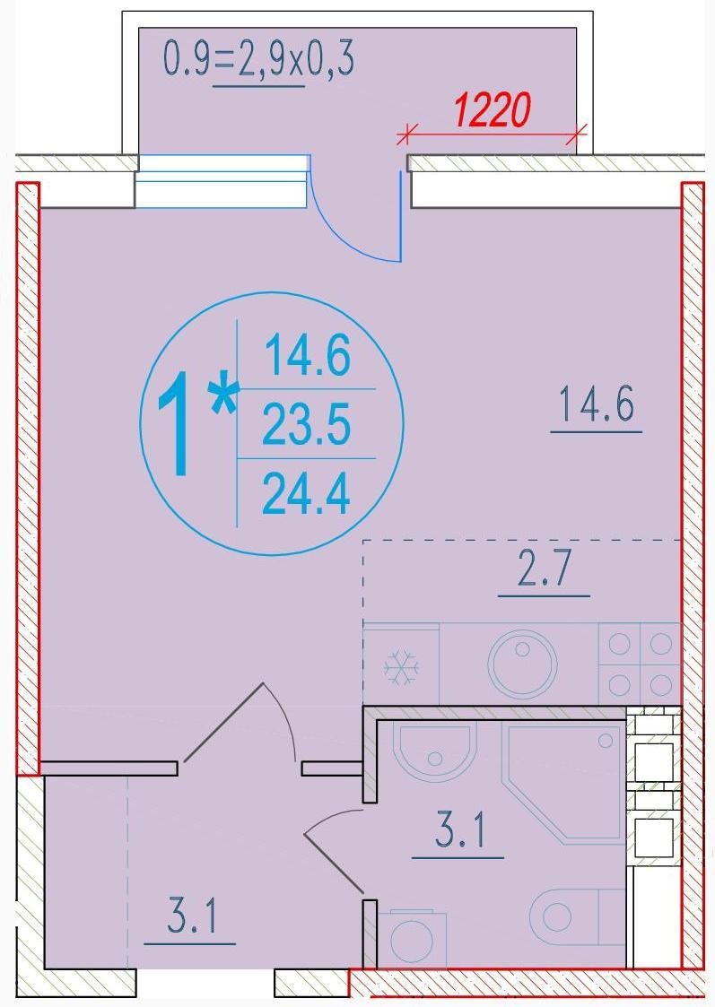 1-комнатная смарт 24.4<span>м<sup>2</sup></span>