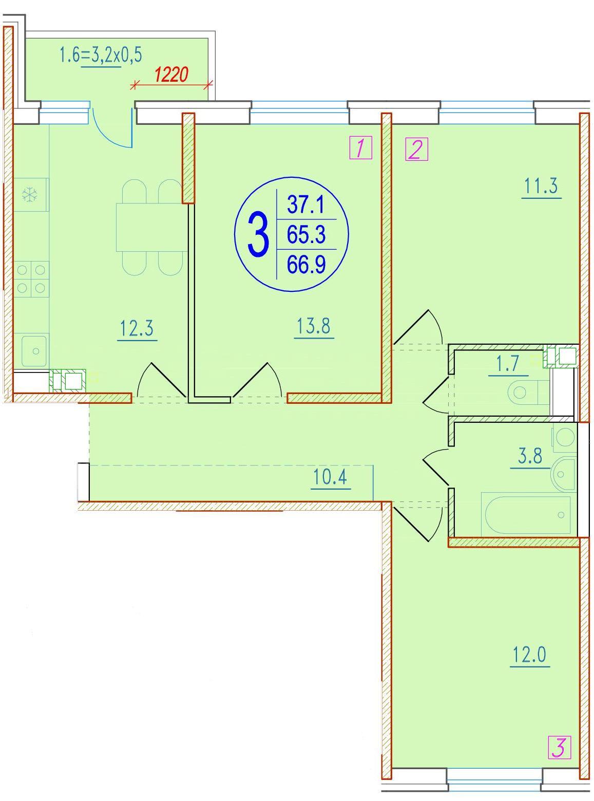 3-комнатная 66.9<span>м<sup>2</sup></span>
