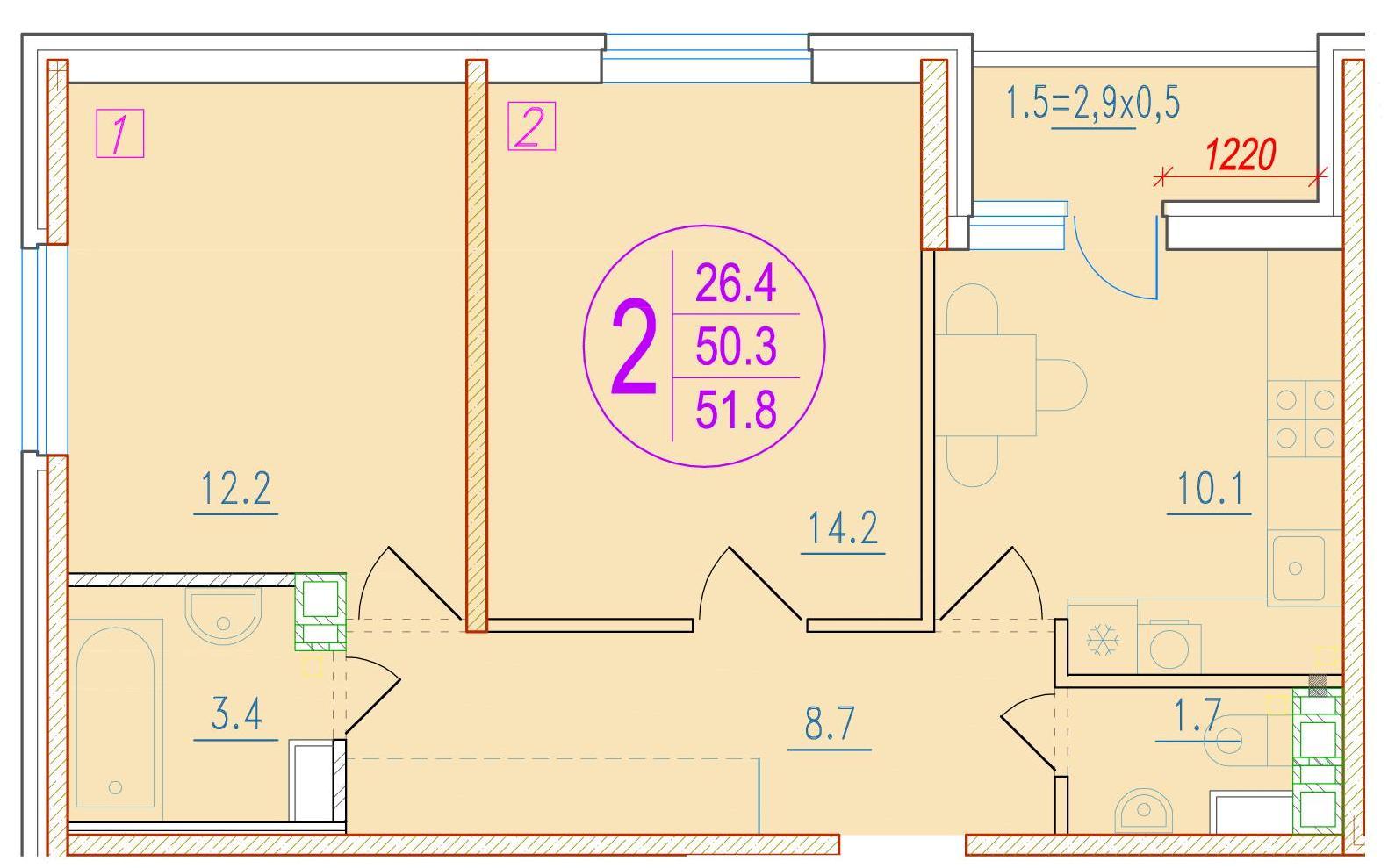 2-комнатная 51.8<span>м<sup>2</sup></span>