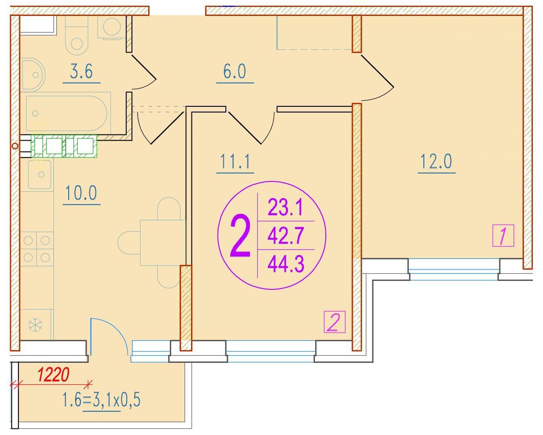 2-комнатная 44.3<span>м<sup>2</sup></span>