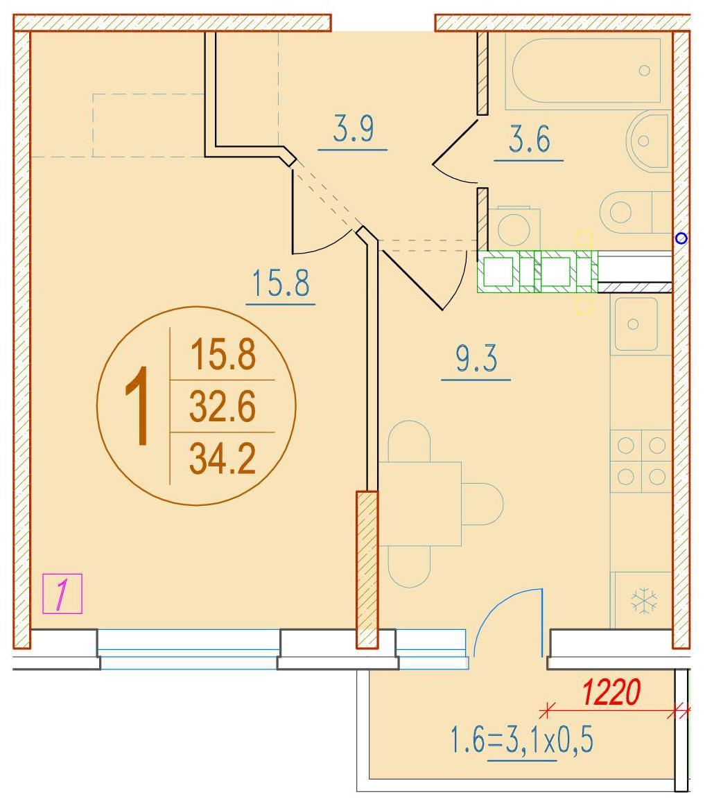 1-комнатная 34.2<span>м<sup>2</sup></span>