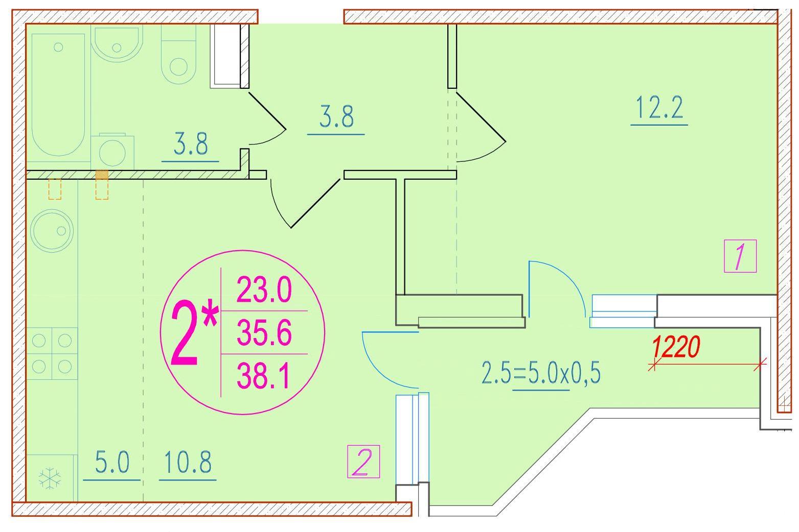 2-комнатная смарт 38.1<span>м<sup>2</sup></span>