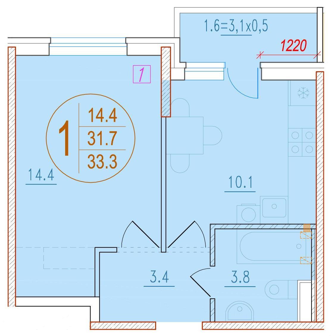 1-комнатная 33.3<span>м<sup>2</sup></span>