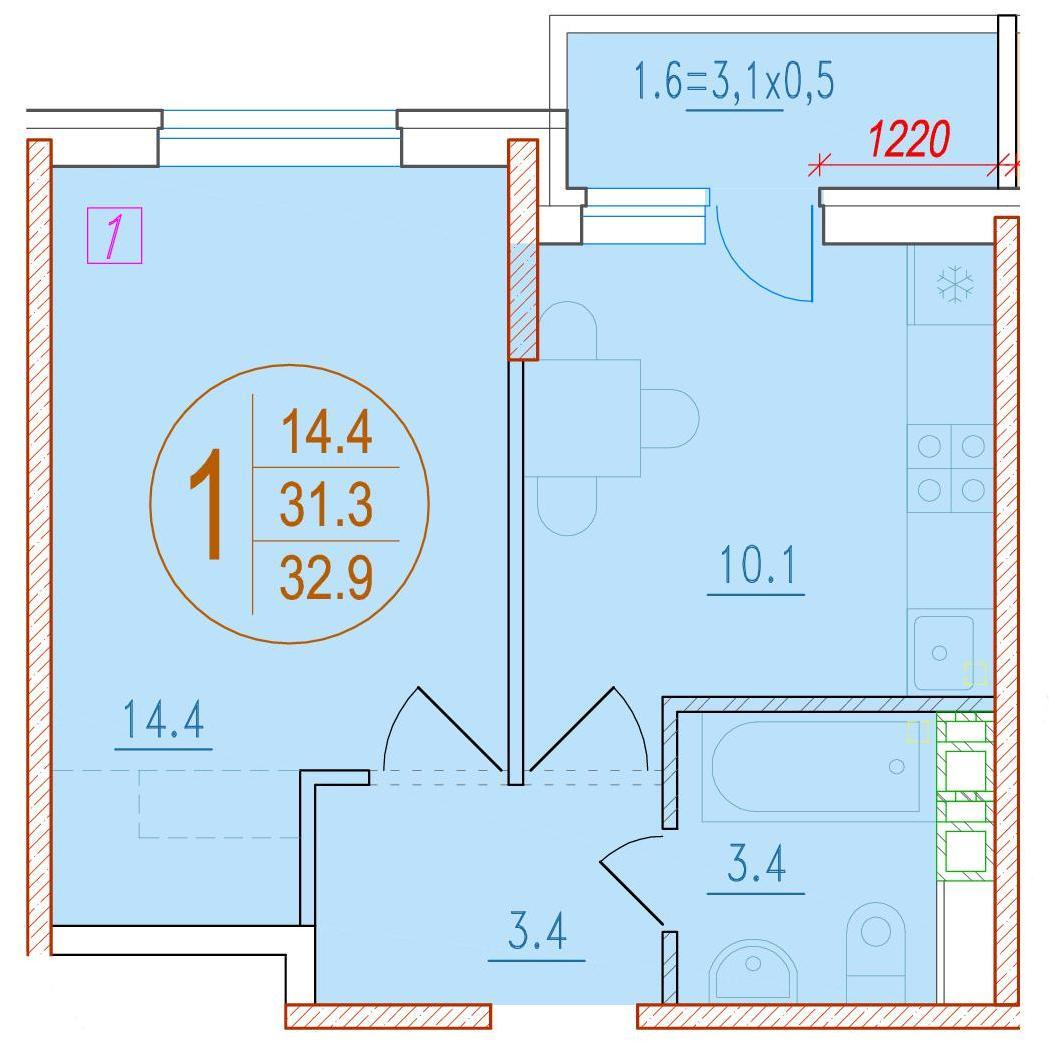 1-комнатная 32.9<span>м<sup>2</sup></span>