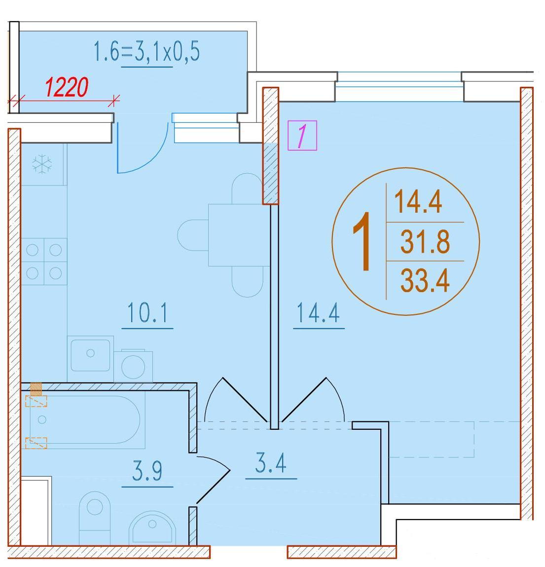 1-комнатная 33.4<span>м<sup>2</sup></span>