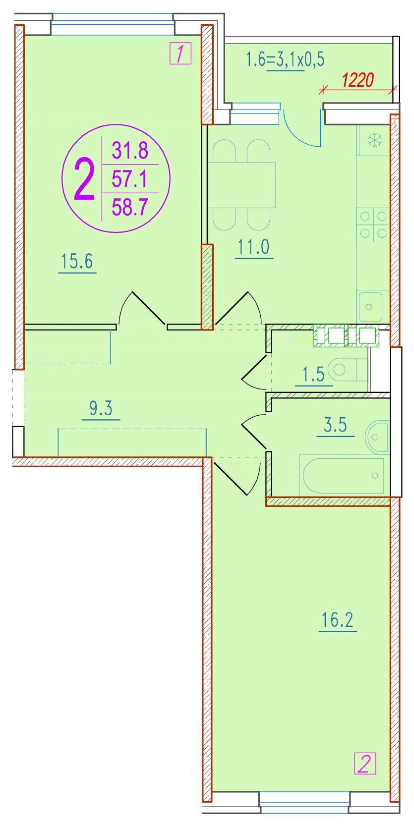 2-комнатная 58.7<span>м<sup>2</sup></span>