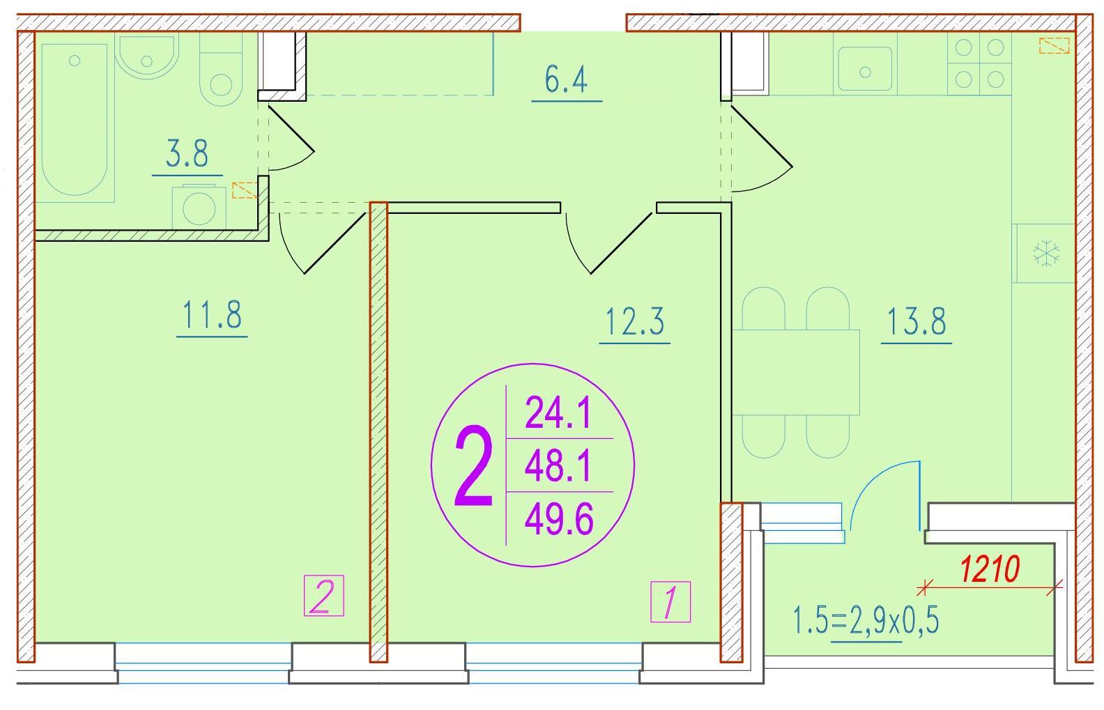 2-комнатная 49.6<span>м<sup>2</sup></span>