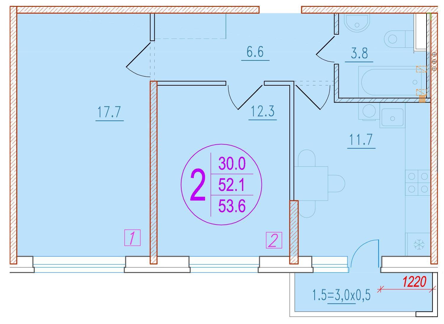 2-комнатная 53.6<span>м<sup>2</sup></span>