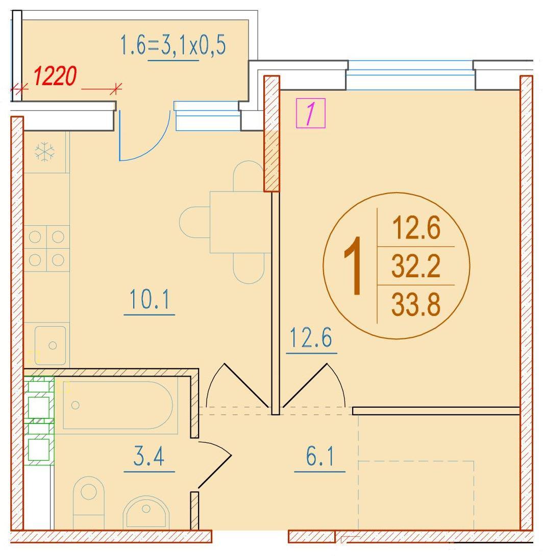 1-комнатная 33.8<span>м<sup>2</sup></span>