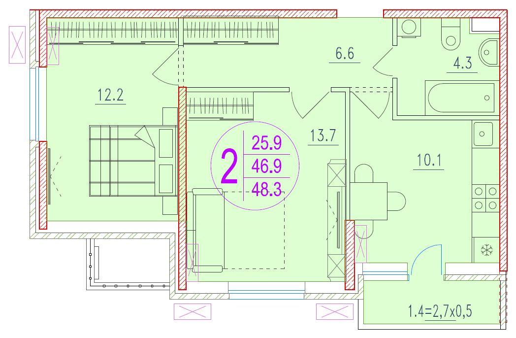 2-комнатная 48.3<span>м<sup>2</sup></span>