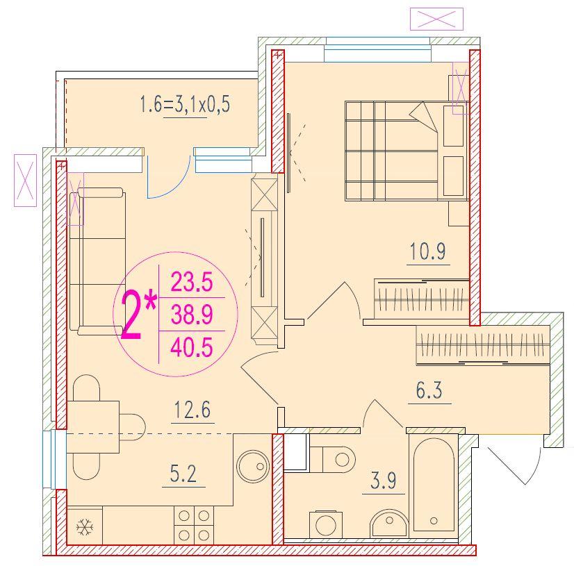 2-комнатная смарт 40.5<span>м<sup>2</sup></span>