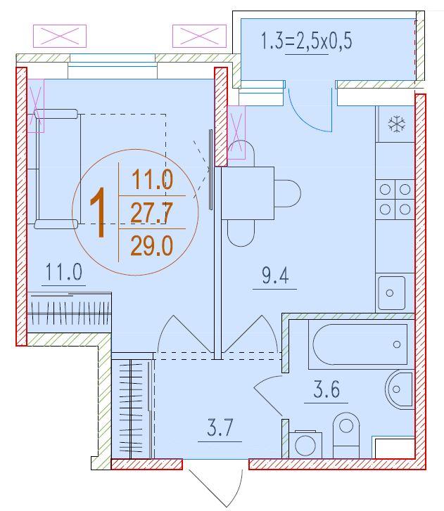 1-комнатная 29<span>м<sup>2</sup></span>