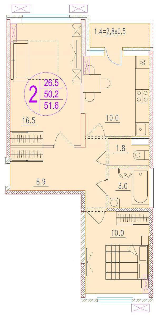 2-комнатная 51.6<span>м<sup>2</sup></span>