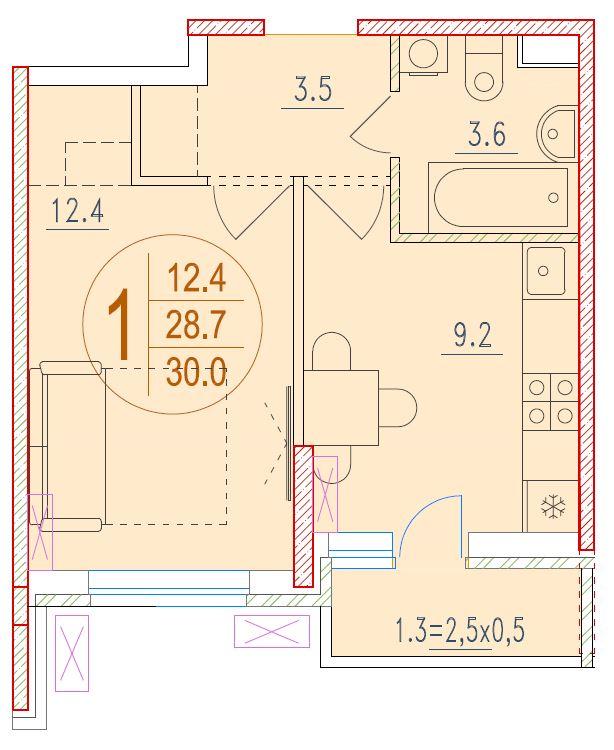 1-комнатная 30<span>м<sup>2</sup></span>