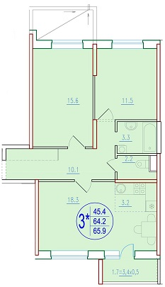 3-комнатная смарт 65.9<span>м<sup>2</sup></span>