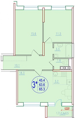 3-комнатная смарт 65.3<span>м<sup>2</sup></span>