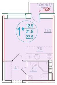 1-комнатная смарт 22.5<span>м<sup>2</sup></span>