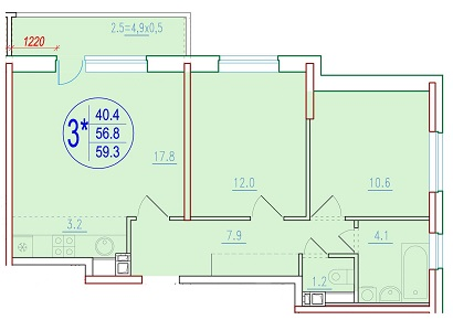 3-комнатная смарт 59.3<span>м<sup>2</sup></span>