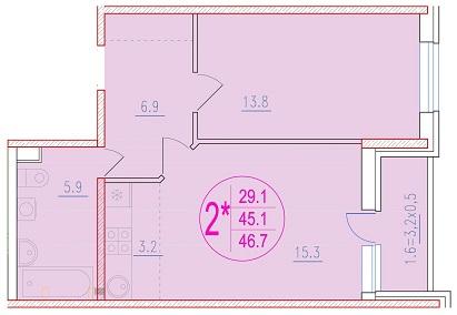2-комнатная смарт 46.7<span>м<sup>2</sup></span>