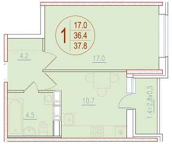 1-комнатная 37.8<span>м<sup>2</sup></span>