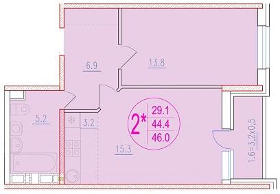 2-комнатная смарт 46<span>м<sup>2</sup></span>