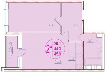 2-комнатная смарт 45.9<span>м<sup>2</sup></span>