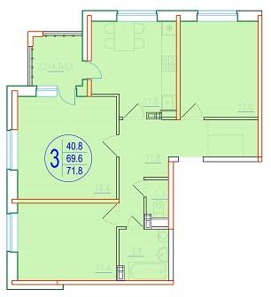 3-комнатная 71.8<span>м<sup>2</sup></span>