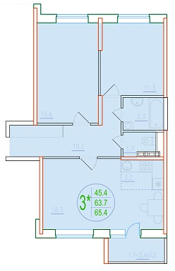3-комнатная смарт 65.4<span>м<sup>2</sup></span>