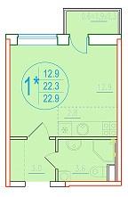 1-комнатная смарт 22.9<span>м<sup>2</sup></span>