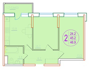 2-комнатная 46.9<span>м<sup>2</sup></span>