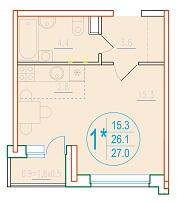 1-комнатная смарт 27<span>м<sup>2</sup></span>