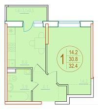 1-комнатная 32.4<span>м<sup>2</sup></span>