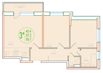 3-комнатная смарт 59.7<span>м<sup>2</sup></span>