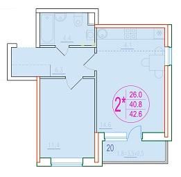 2-комнатная смарт 42.6<span>м<sup>2</sup></span>