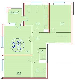 3-комнатная 71.9<span>м<sup>2</sup></span>