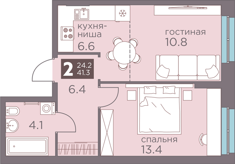 2-комнатная смарт 41.3<span>м<sup>2</sup></span>
