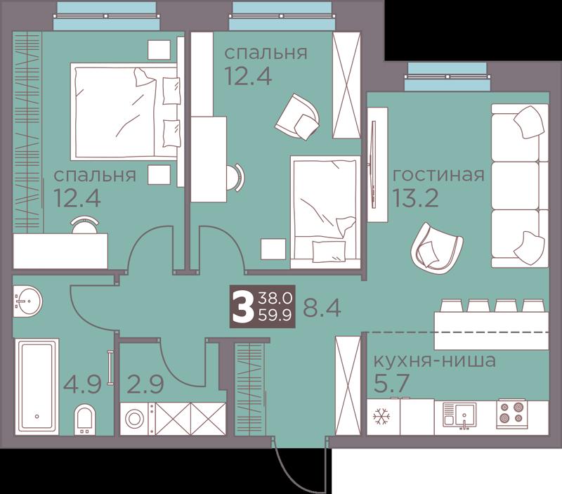 3-комнатная смарт 59.9<span>м<sup>2</sup></span>