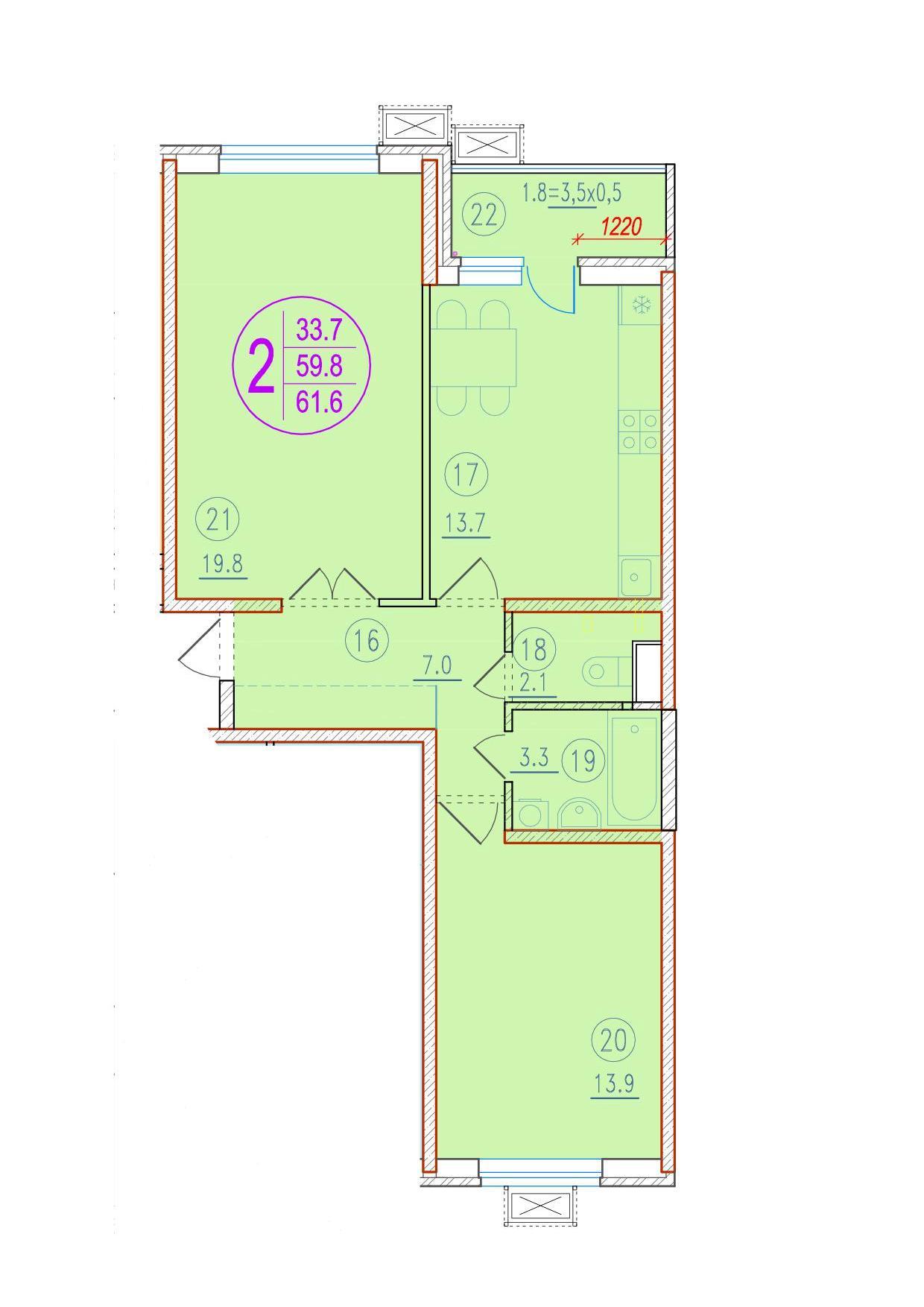 2-комнатная 61.6<span>м<sup>2</sup></span>