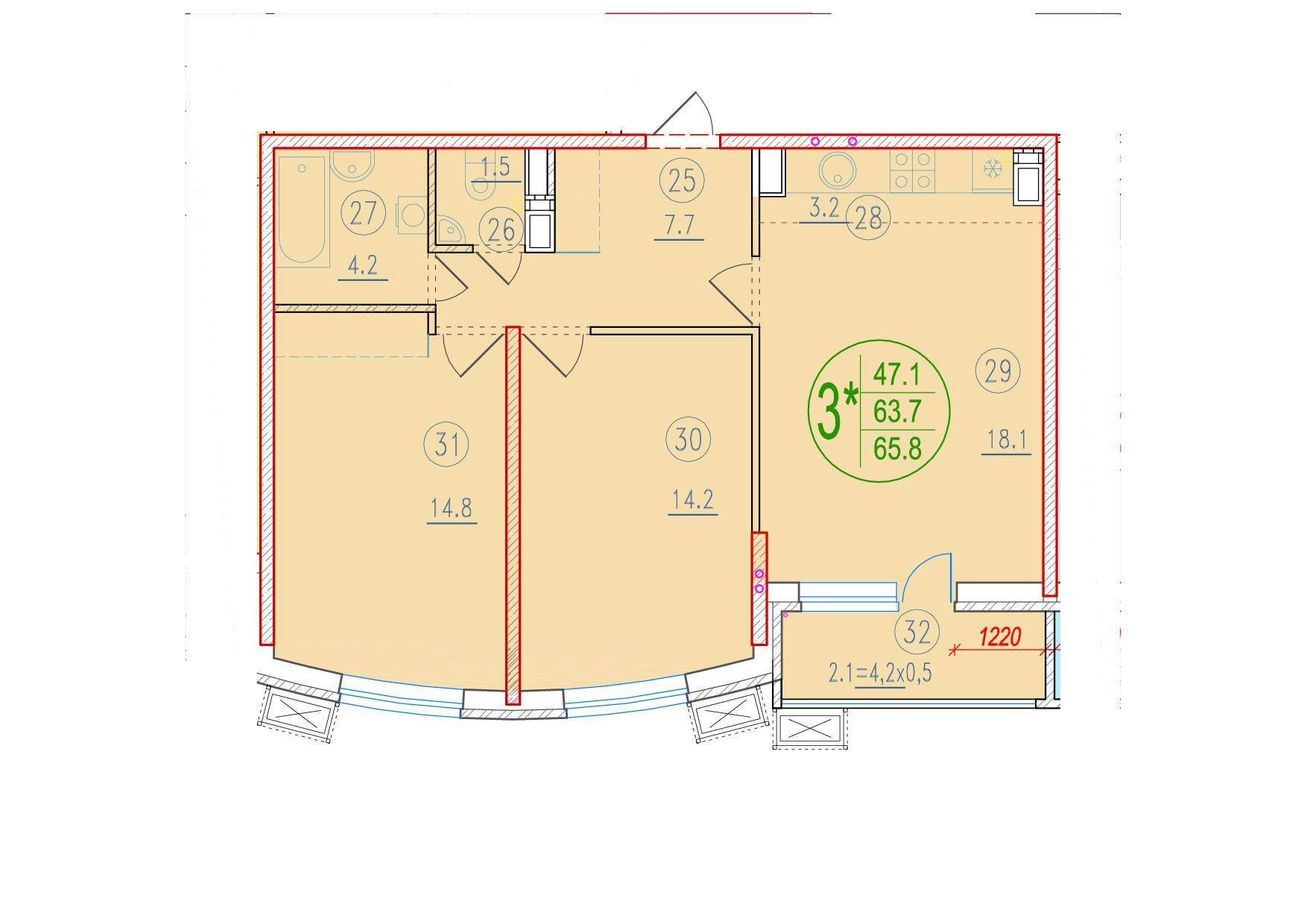 3-комнатная смарт 65.8<span>м<sup>2</sup></span>