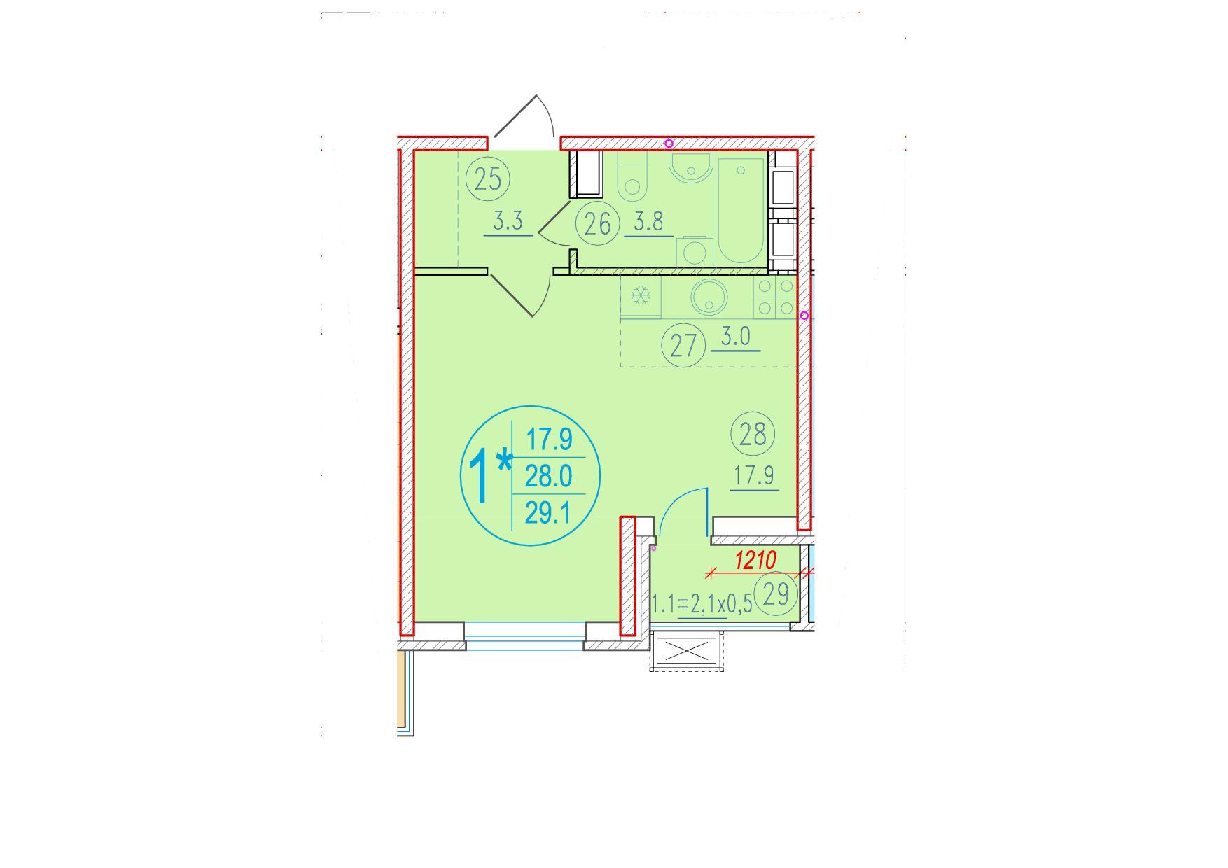 1-комнатная смарт 29.1<span>м<sup>2</sup></span>