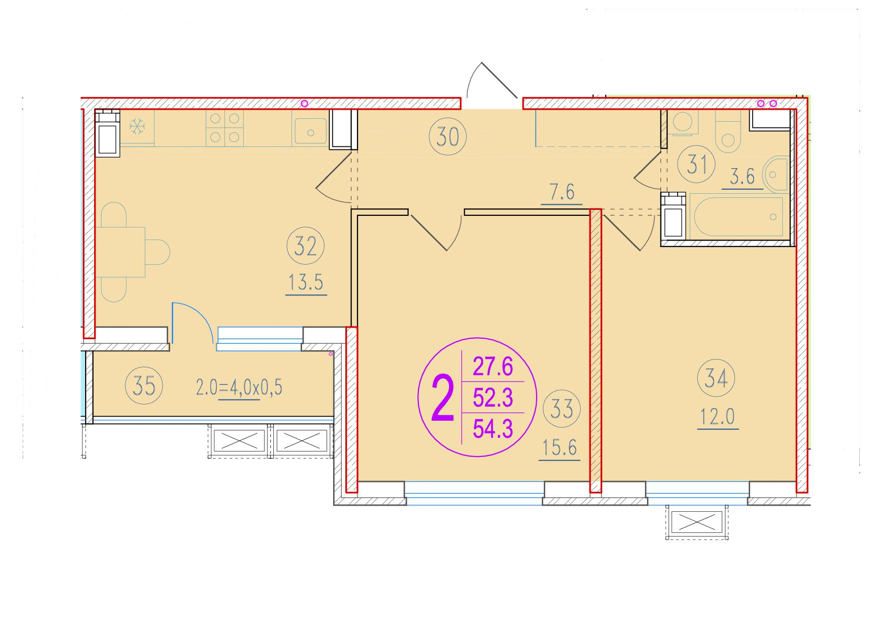 2-комнатная 54.3<span>м<sup>2</sup></span>
