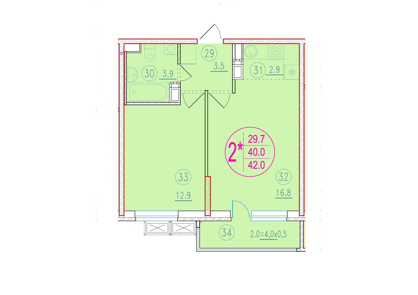 2-комнатная смарт 42<span>м<sup>2</sup></span>